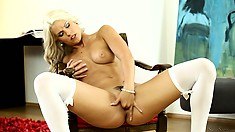 Hot blonde Blanche in sexy white stockings diddles her wet snatch