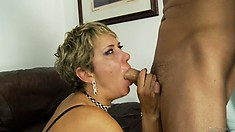 Mature blonde with a hairy snatch eats cock and gets drilled