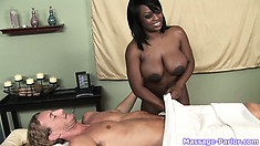 Ebony masseuse puts her ghetto booty all up in her lover's face