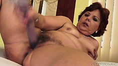 Fat woman needs to get young and hard prick for her hairy twat