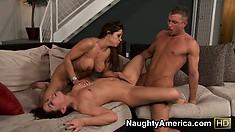 She sits on his face and he gets blown before he trades pussies to fuck