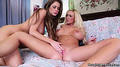 Busty lesbian Emily Addison involves her girl into wild cunnilingus party