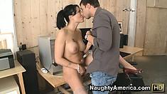 Little slut Zoey Holloway gives the construction dude a striptease