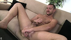 Lucas Allen goes solo with his dildo and rides it up his ass
