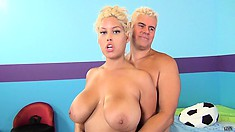 Bridgette gets her pussy fucked nice and deep and takes his load all over her chest