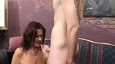Cougar with a big fat butt gets rammed deep by a young lad's cock