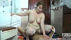 Young boy Benjamin gives mature slut Flo a creampie which drips on the bathroom floor