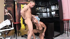 Eastern european hoochie takes a young man's cock deep on a bar