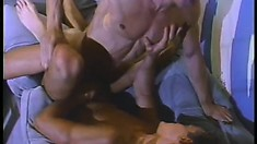 A pair of hot toned dudes get into some rough anal action on the couch