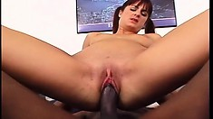 Naughty redhead cougar with a slim body fulfills her desires with a black cock