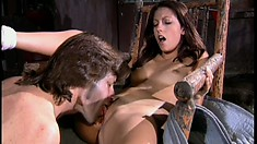 Nasty college babe seduces the repair guy and has him pounding her shaved snatch