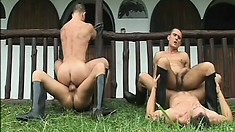 Cowboy puts his rodeo skills to work by riding a big stud's cock
