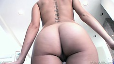 Adorable young girl with tiny tits and a superb ass loves to get fucked