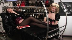 Mistress has a slave boy in a maid outfit who worships her feet