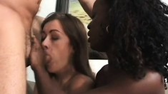 Two dirty girls eat each other out and ride one stiff member