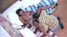 Stacked chocolate lady Cassandra takes a black shaft in her wet pussy