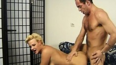 Hot mature blonde in black stockings Diana gets her pussy fucked deep