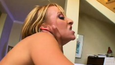 Skinny blonde has a well hung Latino deeply pounding her anal hole