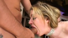 Naughty blonde in fishnets chokes on a big dick and gets pounded rough