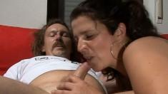 Horny brunette mom has her husband fucking her holes like she deserves