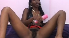 Ebony cutie shaves her hairy pussy and gets fucked by a huge black dick