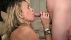 Sexy experienced MILF Kari gets it on with a young college guy