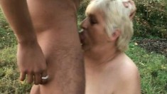 Fat granny gets slammed outdoors by a freaky young devil's rod