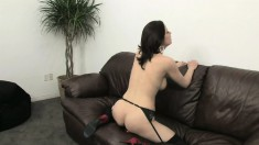 Janessa Jordan uses her fingers and a dildo to find intense pleasure