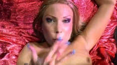 Trashy blonde Sylvie has a bunch of horny guys unloading in her mouth
