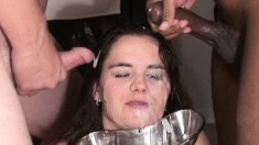 Elegant brunette with impressive oral skills swallows piss and sperm