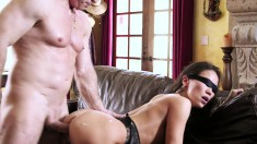 Blindfolded wife takes a big dick in her cunt and another in her mouth