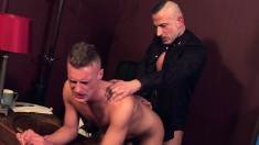 Handsome boy gets his dick sucked and his ass pounded by the priest