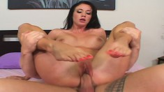 Wild babe with a spicy ass Kimberly Kole gets pounded all over the bed