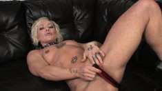 Cock starving blonde Denise peels off her clothes and pleases her cunt