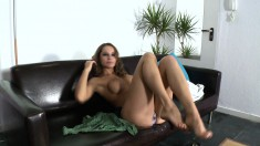 Sultry girl displays her body and fucks a dick in front of the camera