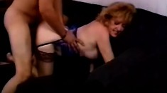 Big tit mature eats his meat and takes it up her hairy twat hole