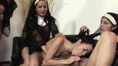 Shemale nuns show their female nun friend what sex is all about