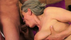 Saggy tit old bitch is getting tapped by a younger dude making her day