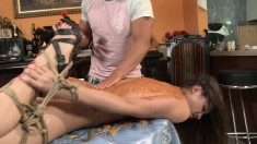 Sexy slim young girl with a perky ass gets tied up and drilled rough