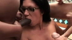 Nerdy starlet can't get enough of cock and begs to get creamed