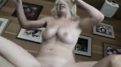 Busty blonde amateur worships and rides a long dick with great desire