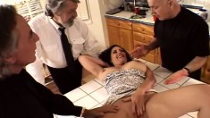 Big boobed Mrs K Wooden gives head and gets nailed by multiple cocks