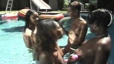 Ebony lesbian orgy in the pool with toy fucking and cunt smacking