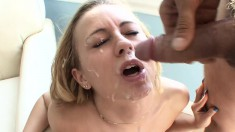 Dazzling blonde cheerleader Mae Meyers gets pounded by two hung boys