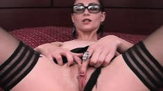 Elegant business lady in black stockings gets pounded in a hotel room