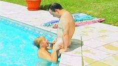 Insatiable milf with nice tits bounces on a hard stick under the sun