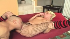 Buxom blonde Summer Storm is in need of a large pole banging her pussy
