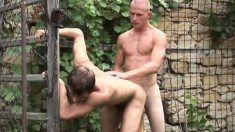 Eager bald dude gets down on his knees to pleasure his lover