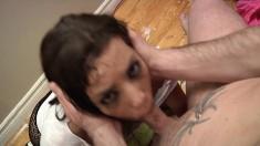 Naughty chick with a sublime ass Shana Lane deepthroats a long stick