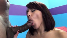Busty brunette Liv Aguilera deepthroats and rides a thick black cock